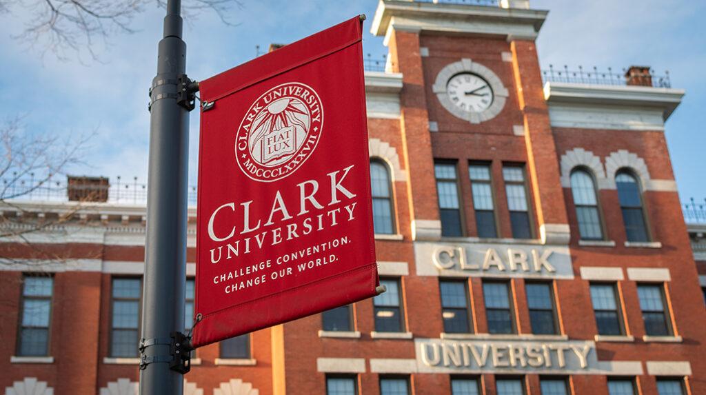 Jonas Clark Hall with Clark University banner