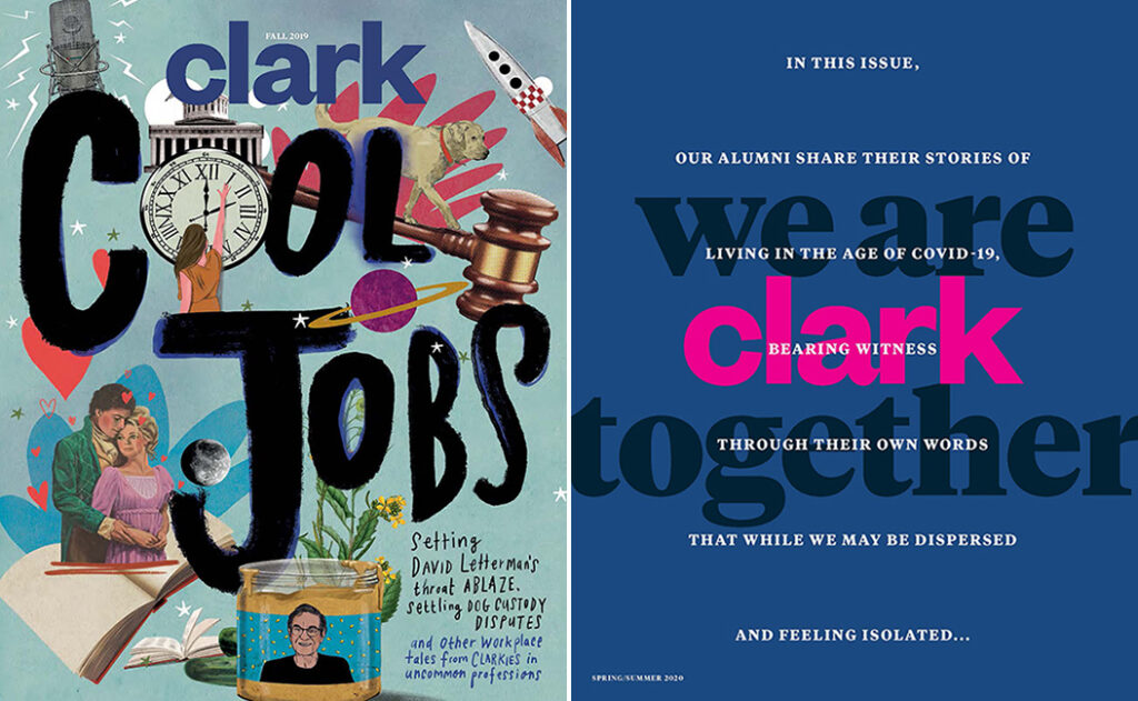 Covers of the fall 2019 and spring/summer 2020 issues of Clark magazine