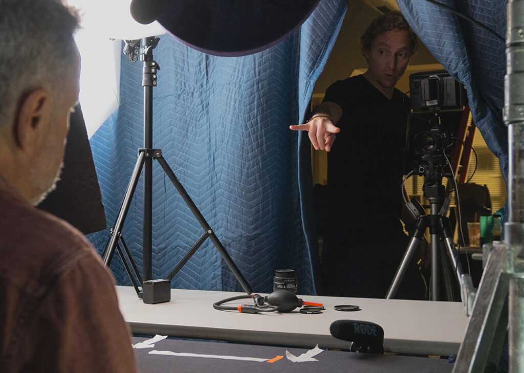 """Stephen DiRado and Director of Photography Jason Rossi filming """"With Dad"""" in 2018"""