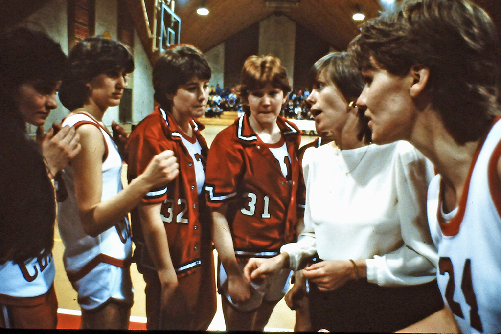 Barbara Stevens coaches the Clark Cougars in 1983