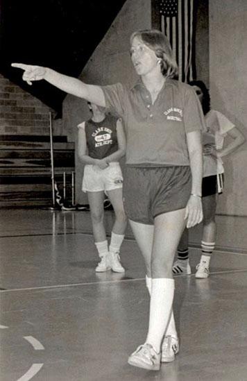 Barbara Stevens coaches during a team practice