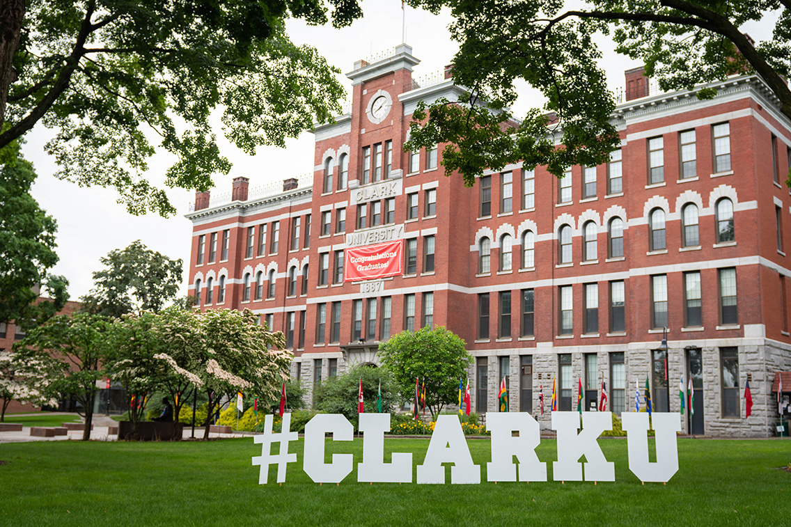 2021 Commencement letters in front of Jonas Clark hall
