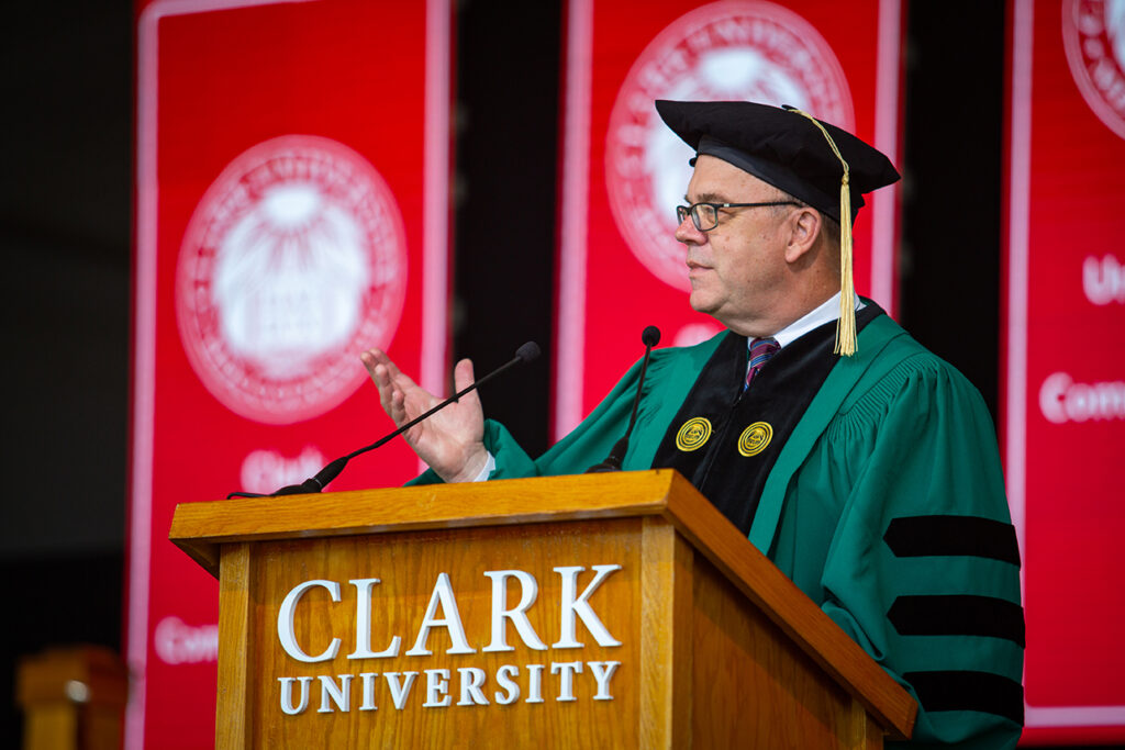 Rep. James McGovern gives the Commencement address at Clark University