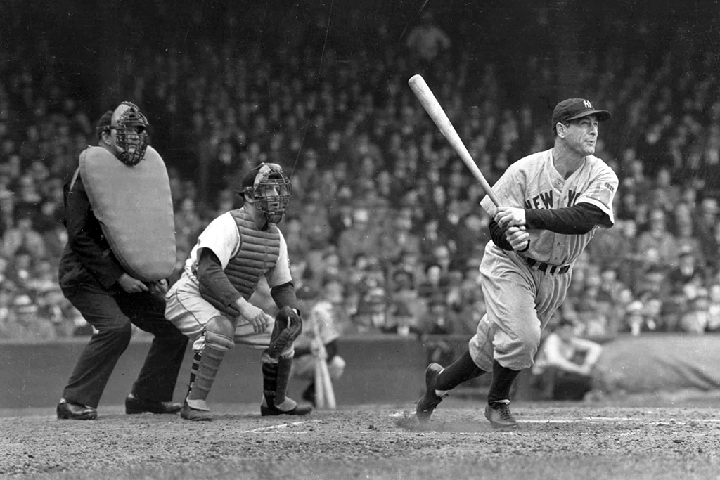 Lou Gehrig swings a bat during a game with the New York Yankees