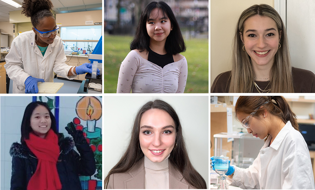 Clockwise from top left: Ph.D. student Ariane Borges; Chi Nguyen '21; Maddie Letendre '20, M.S. '21; Kim Nguyen '22; Iryana Onaseko '20, M.S. '21; and Jue (Amy) Chen '20.