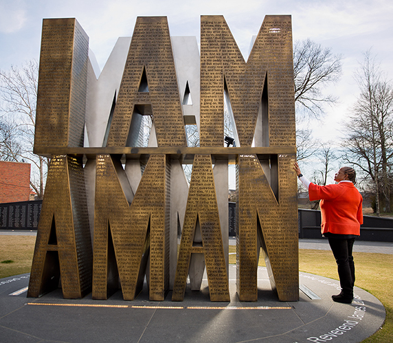 """Carolyn Michael-Banks at the """"I Am a Man"""" memorial in Memphis, Tennessee"""