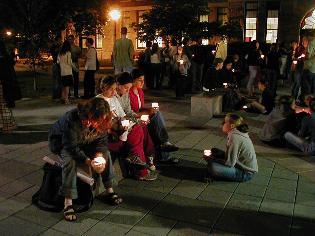 Students attend a candlelight vigil at Clark on Sept. 11, 2001.