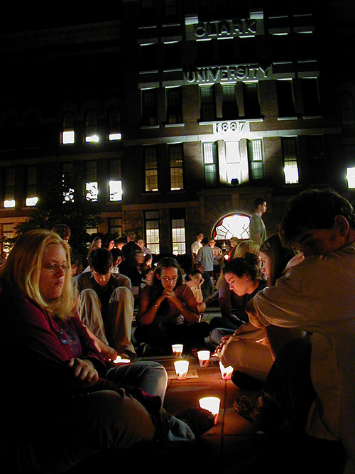Students attend a candlelight vigil at Clark on Sept. 11, 2021.