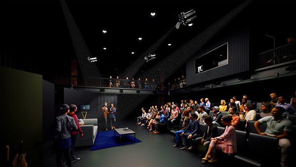 Artist rendering of the renovated blackbox theater in the Little Center