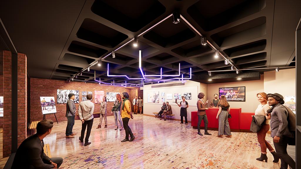 Artist rendering of the Riccardo & Spencer Lobby in the renovated Little Center