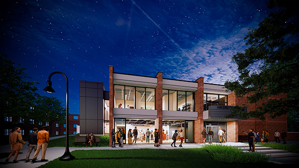 The renovated Little Center shown at night in this artist's rendering.