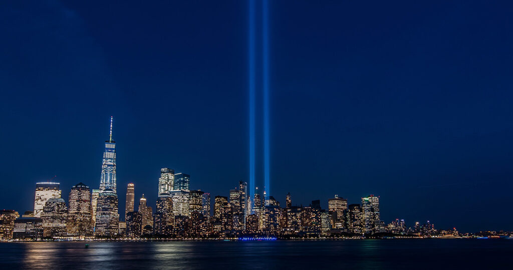 New York City skyline with World Trade Center memorial lights