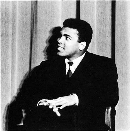 Muhammad Ali on the Atwood Hall stage in 1968
