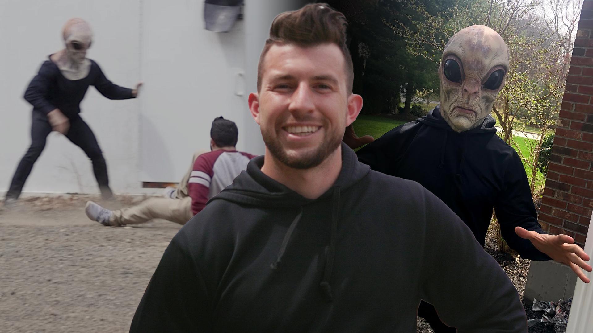 Alex Turgeon in front of alien video scene