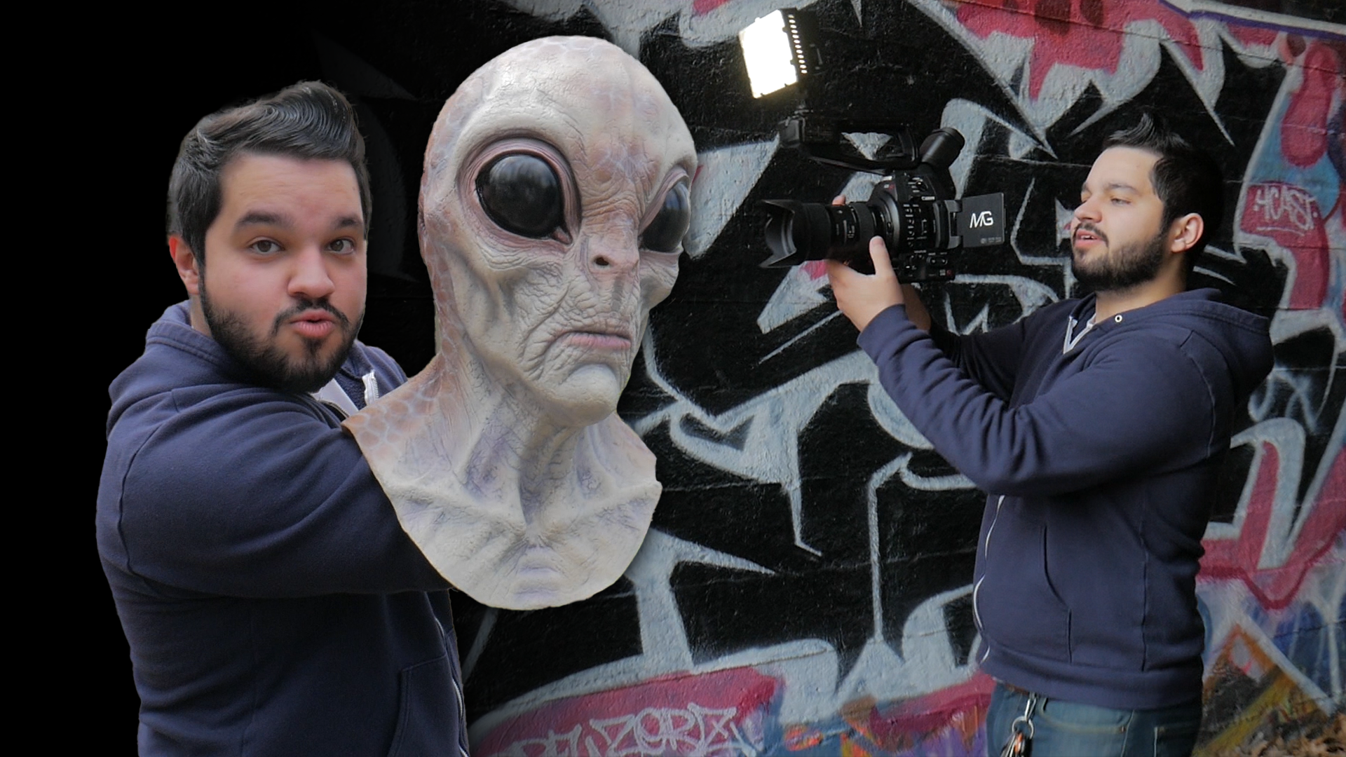 Images of Mitchell Gamache with a person in an alien mask and shooting video with a large cam